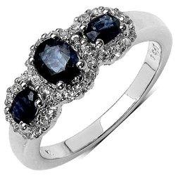 Srebrny pierścionek z szafirami